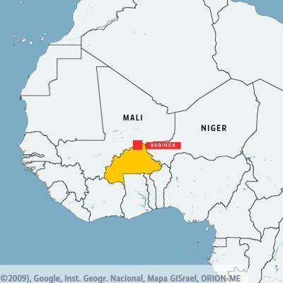 Burkina Faso är gulmarkerat och Mali och Niger är utplacerade på karta.