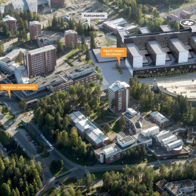 Havainnekuva tulevasta Keski-Suomen keskussairaalasta.
