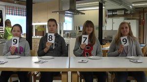 Testpanelen ger poäng åt tomat A. En 9,8,7 och 9.