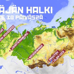 Karttakuva Venäjän halki 30 päivässä -sarjan reitistä