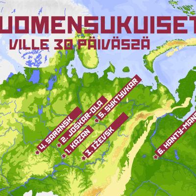 Suomensukuiset 30 päivässä -ohjelman reittikartta