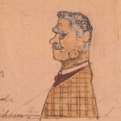 Henrik Lindebergin piirros sotavankien komissaari Antti Halosesta.