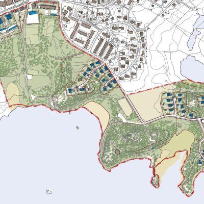 En bild av planen för Gumnäs-Klockarudden i Pojo