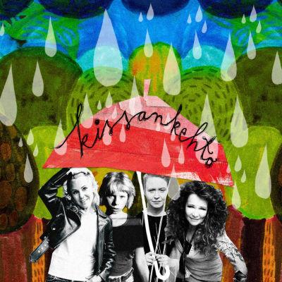 Kissankehdon sateenvarjon alla sadetta pitelevät Suvi Isotalo, Milla Rumi, Aino Venna ja Virve Rosti