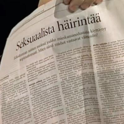"""Helsingin sanomien sivu otsikolla """"Seksuaalista häirintää"""""""