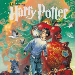 Bokomslaget till Harry Potter och de vises sten. På bilden finns bland annat en svävande pojke med glasögon, två ugglor och ett rött lok.