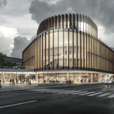 Visionsbild över Åbos planerade konserthus.