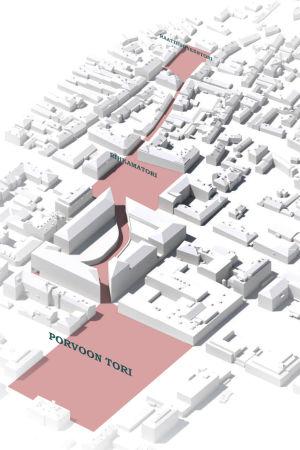 En skiss av Borgå centrum. Allt annat är vitt förutom Borgå torg, Krämartorget och Rådhustorget samt vägarna som förbinder dem med varandra. De är utritade i rött.