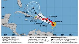 Orkanen Maria är på väg mot Guadeloupe, Puerto Rico och Jungfruöarna