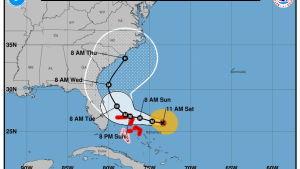 Dorian rör sig sakta mot nordväst, mot Florida och North Carolina