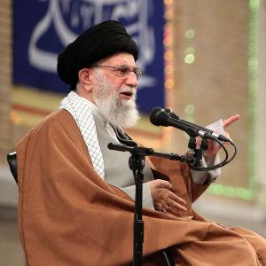 Ali Khamenei, en äldre man med grått skägg sitter i en stol och talar i en mikrofon.