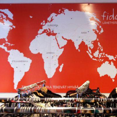 Maailman kartta Fida Lähetystorin seinällä