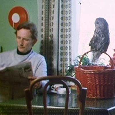 Anthony Bosley lukee sanomalehteä. Pöllö tarkkailee tilannetta.