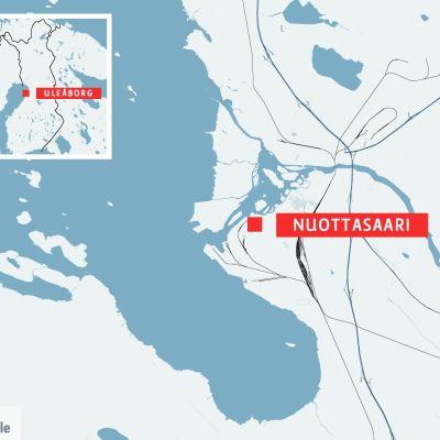 Karta över Nuottasaari i Uleåborg.