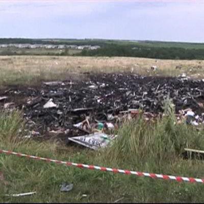 Olycksplatsen där MH17 kraschade 2014.