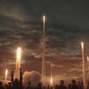 En massa rymdraketer lyfter mot kvällshimlen.