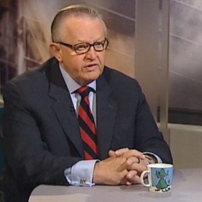 Martti Ahtisaari Ykkösaamun haastattelussa. Kuva kuvanauhalta.