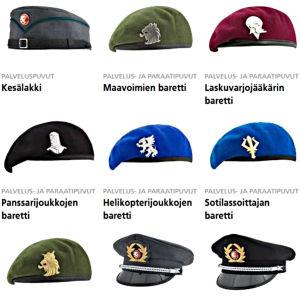 Soldatmössor och baretter som används av Försvarsmakten i Finland.