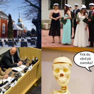 Fyra bilder som monterats ihop bestående av en kyrka, studenter, en expertpanel och ett skelett som frågor om du fick vård på svenska.