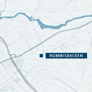 Karta över Åbo och Nummisbacken är markerad med en punkt.