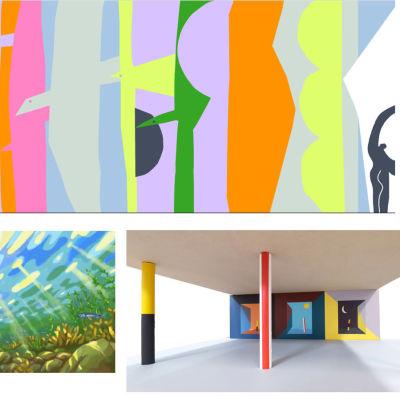 Tre konstverk som deltar i konsttävlingen för viadukten i Hangö.