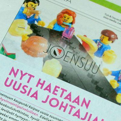 Joensuun kaupungin uusittu työpaikkailmoitus Kauppalehdessä.