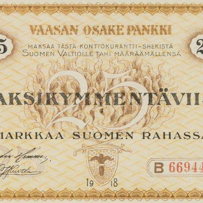 Vaasan Osake Pankki 25 mk etusivu.