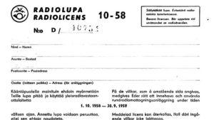 radiolicens intyg 1958 1958
