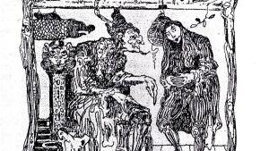 """Faust ja Mefistofeles esiintyvät myös Paul Kleen tekemässä Ex Libris -merkissä. Faustin sitaatti käännettynä: """"Lääketieteen henki on helposti ymmärrettävissä..."""". (Paul Klee 1879–1940), 1901."""
