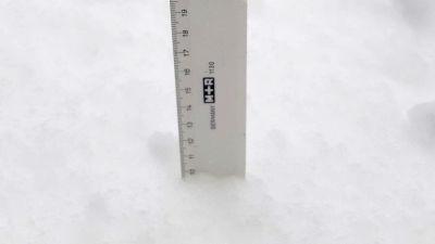 Viivotin lumihangessa, lunta on 10 senttiä