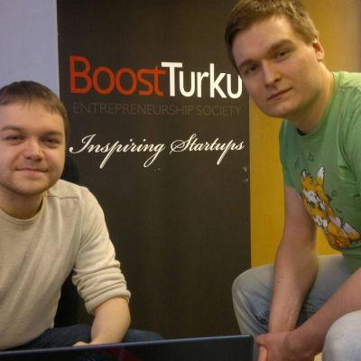Henrik Skogström och Otso Rasimus är två av personerna bakom appen Agrai.
