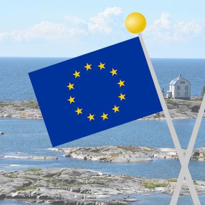 EU-flaggan och Ålands flagga med åländska vyer i bakgrunden.