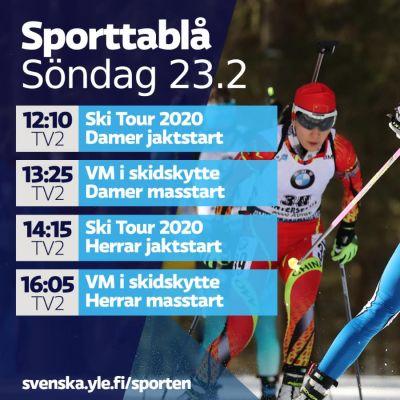 Tv-tablå till vänster, Kaisa Mäkäräinen till höger.