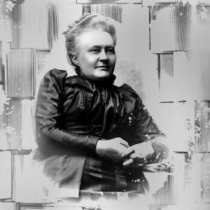 """Museoviraston kuva käsiteltynä. Minna Canth tummassa puvussa, hieman hymyilevänä. Vieressä teksti """"Minna Canth 1844-1897"""" ja taustalla auki olevia kirjoja."""