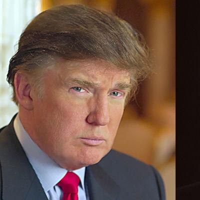 Porträtt på affärsmännen Donald Trump och Martin Saarinkangas