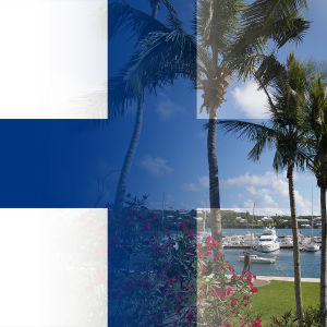 Bildcollage av Finlands flagga och Paradisdokumenten-logon.