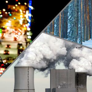 Bildkollage med kolkraft, skog och privatbilism.