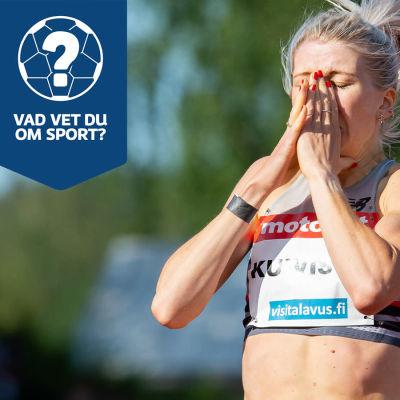 Sara Kuivisto på pärmbilden för Yle Sportens helgquiz 4 juli 2021.
