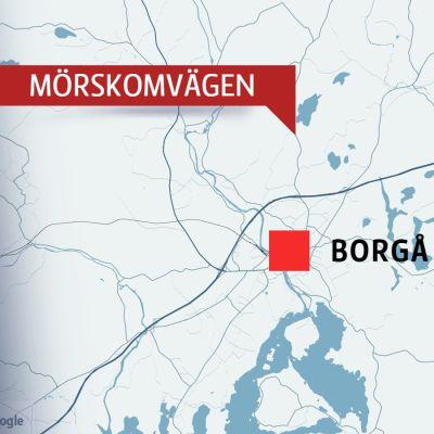 Karta över Mörskomvägen i Borgå