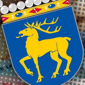 Bild av Ålands landskapsvapen med pengar i bakgrunden
