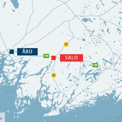 Karta över delar av södra Finland.