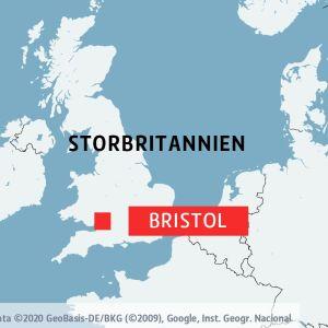 Karta över Storbritannien. Bristol har markerats med en röd kvadrat och texten Bristol till höger om kvadraten. Även delar av norra Europa visas på kartan.