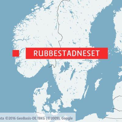 Karta som visar Rubbestadneset i Norge