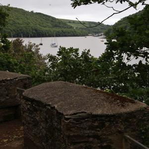 Utsikt över floden Dart från batteriet vid Greenway.