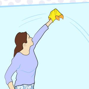 Grafisk bild som föreställer en kvinna som tvättar ett fönster.