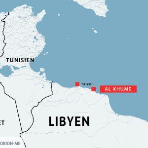 En karta var man ser var Tripoli och Al-Khums ligger.
