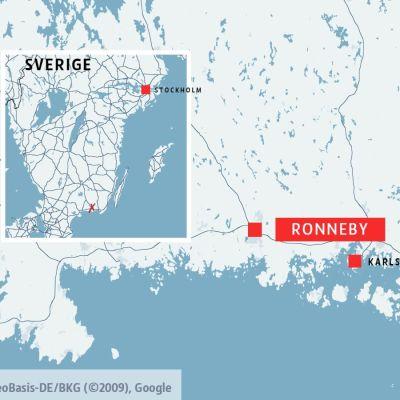 En karta för att förtydliga var Ronneby är i Sverige.