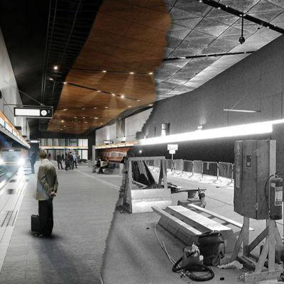Datornanimerad bild av metrostationen Aalto-universitetet, samt hur stationen såg ut i verkligheten i juni 2016.