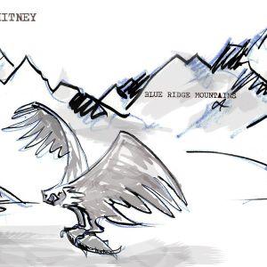 Illustration där en örn har fångat lax och berg i bakgrunden
