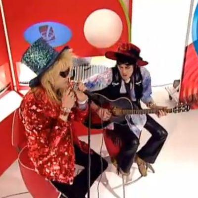 Hanoi Rocks -duo esiintyy Lits-ohjelman kulisseissa 2003.